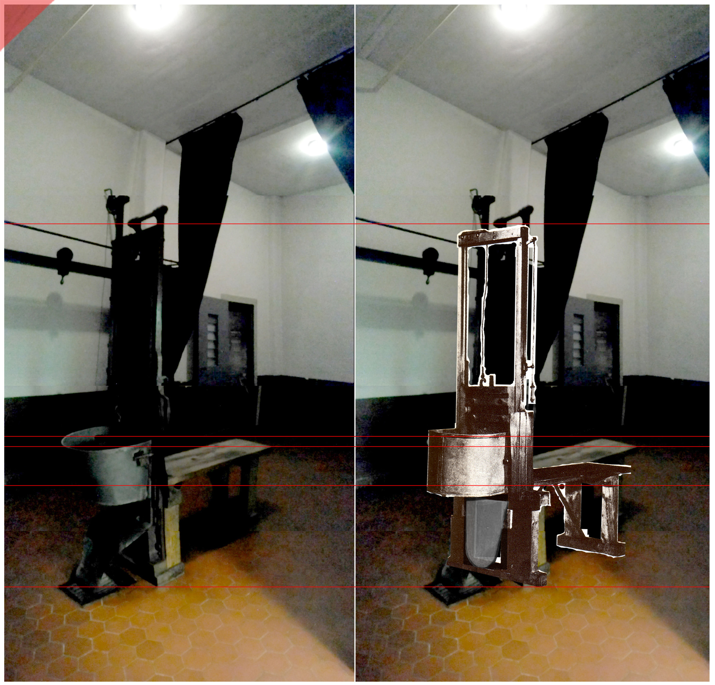 Brandenburg-Görden-Gorden-Fallbeil-in-color-1-T-Mannhardt-Guillotine-Wilhelm-Roettger-Garage