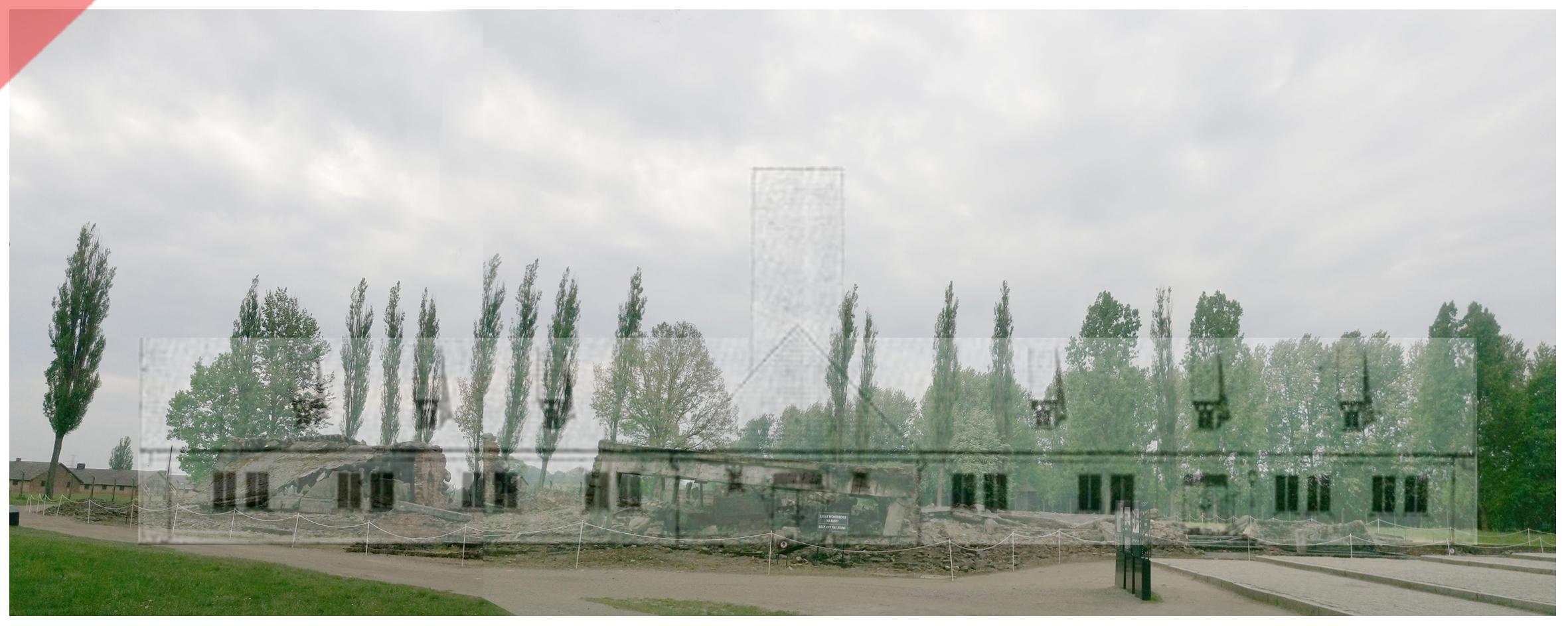 Auschwitz-Birkenau-Krematorium-2-II-superimpose-now-then-1943-1944-Photo