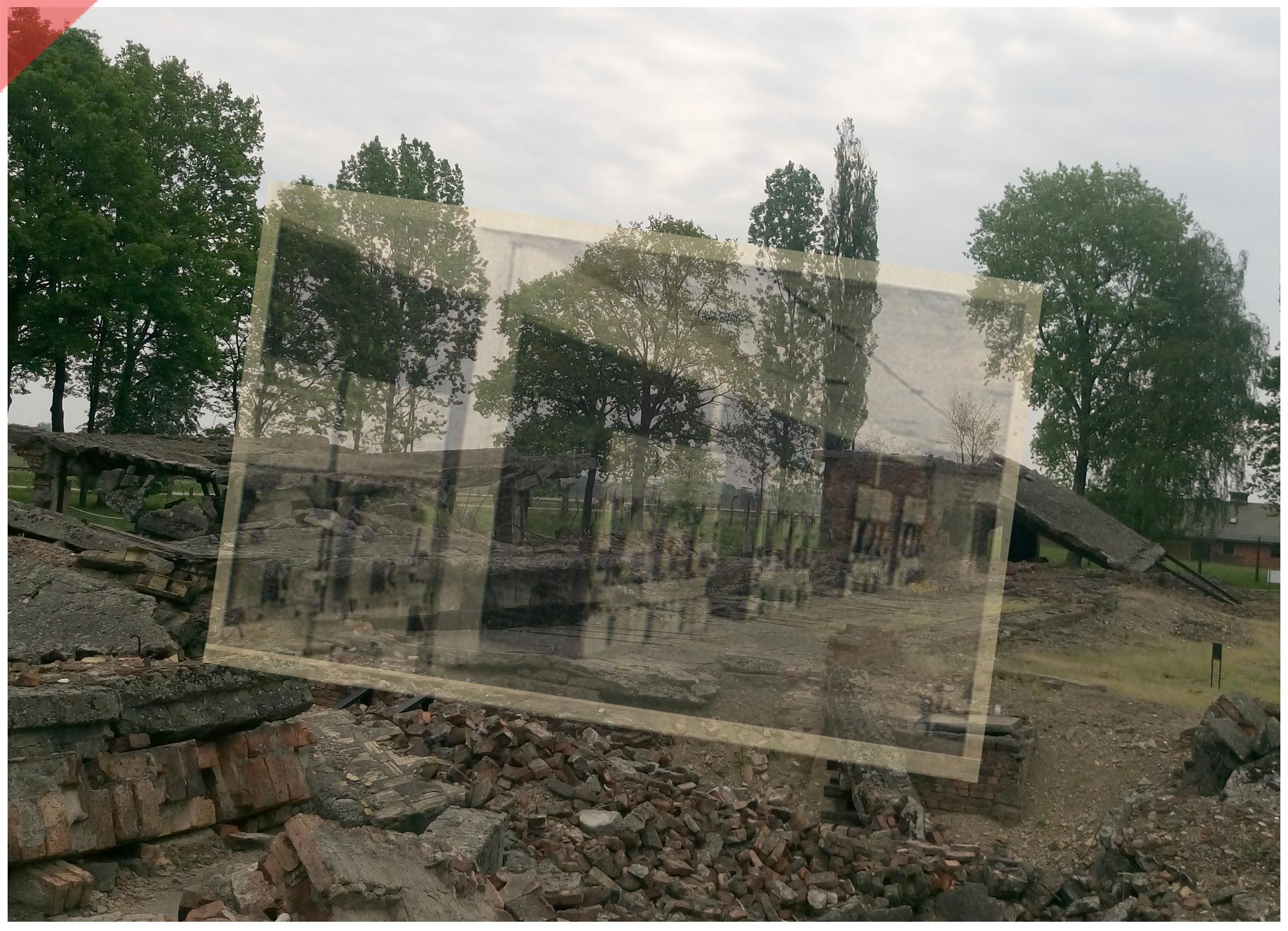 Auschwitz-Birkenau-Krematorium-2-II-superimpose-now-then-oven-1943-1944-Photo