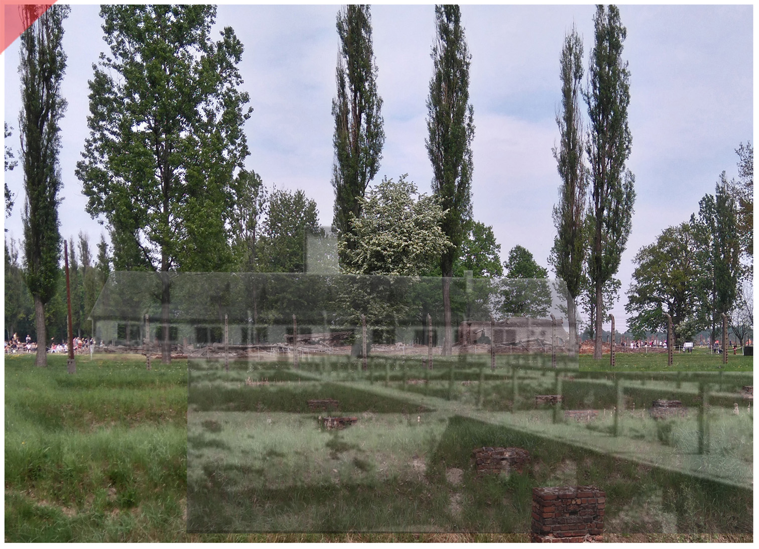 Auschwitz-Birkenau-Krematorium-2-II-superimpose-now-then-1943-1944-Photo
