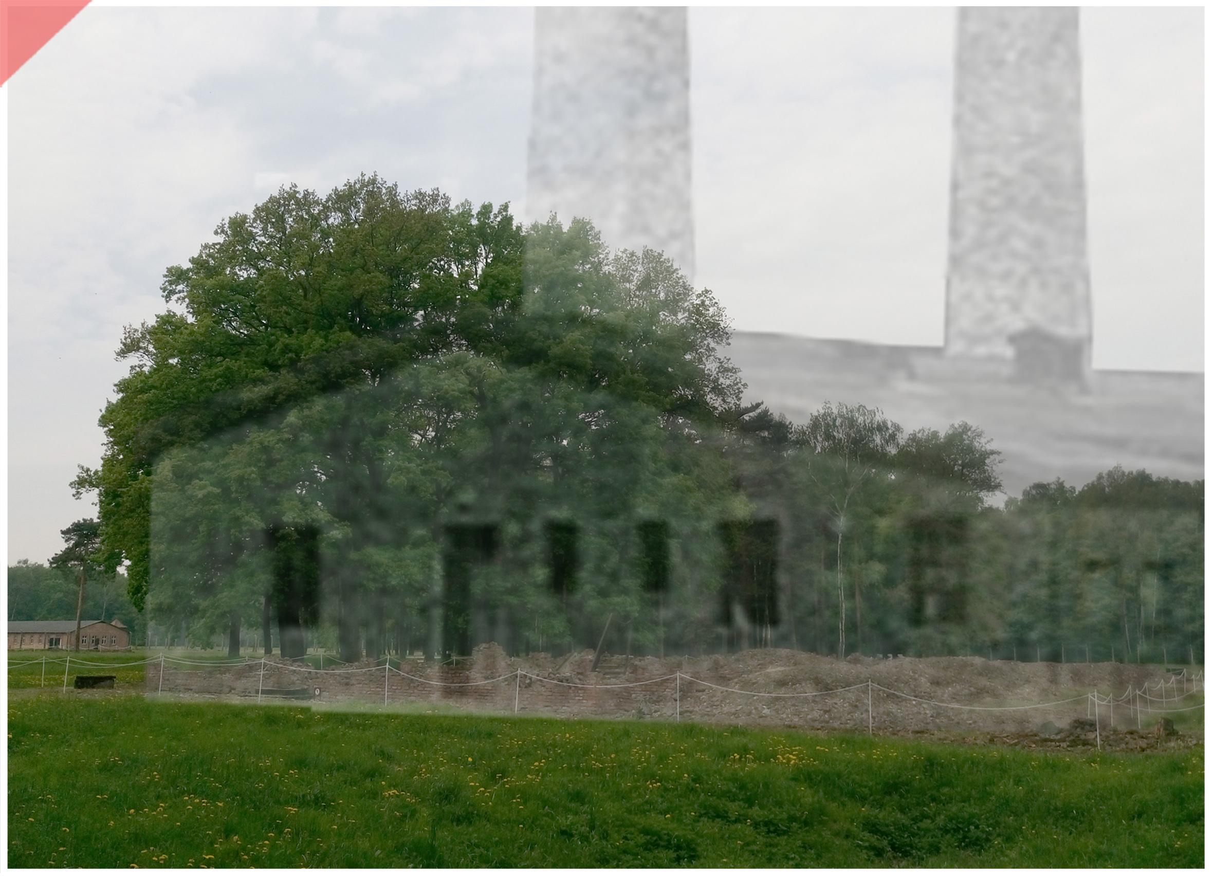 Auschwitz-Birkenau-Krematorium-5-V-superimpose-now-then-1943-1944-Photo
