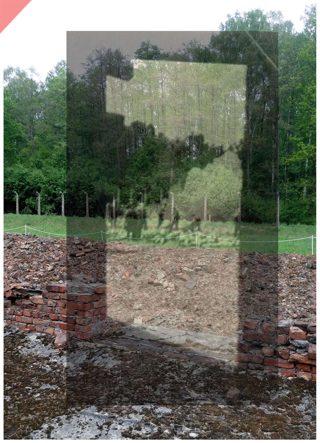 Auschwitz-Birkenau-Krematorium-5-V-superimpose-Sonderkommando-Hungaria-now-then-1943-1944-Photo