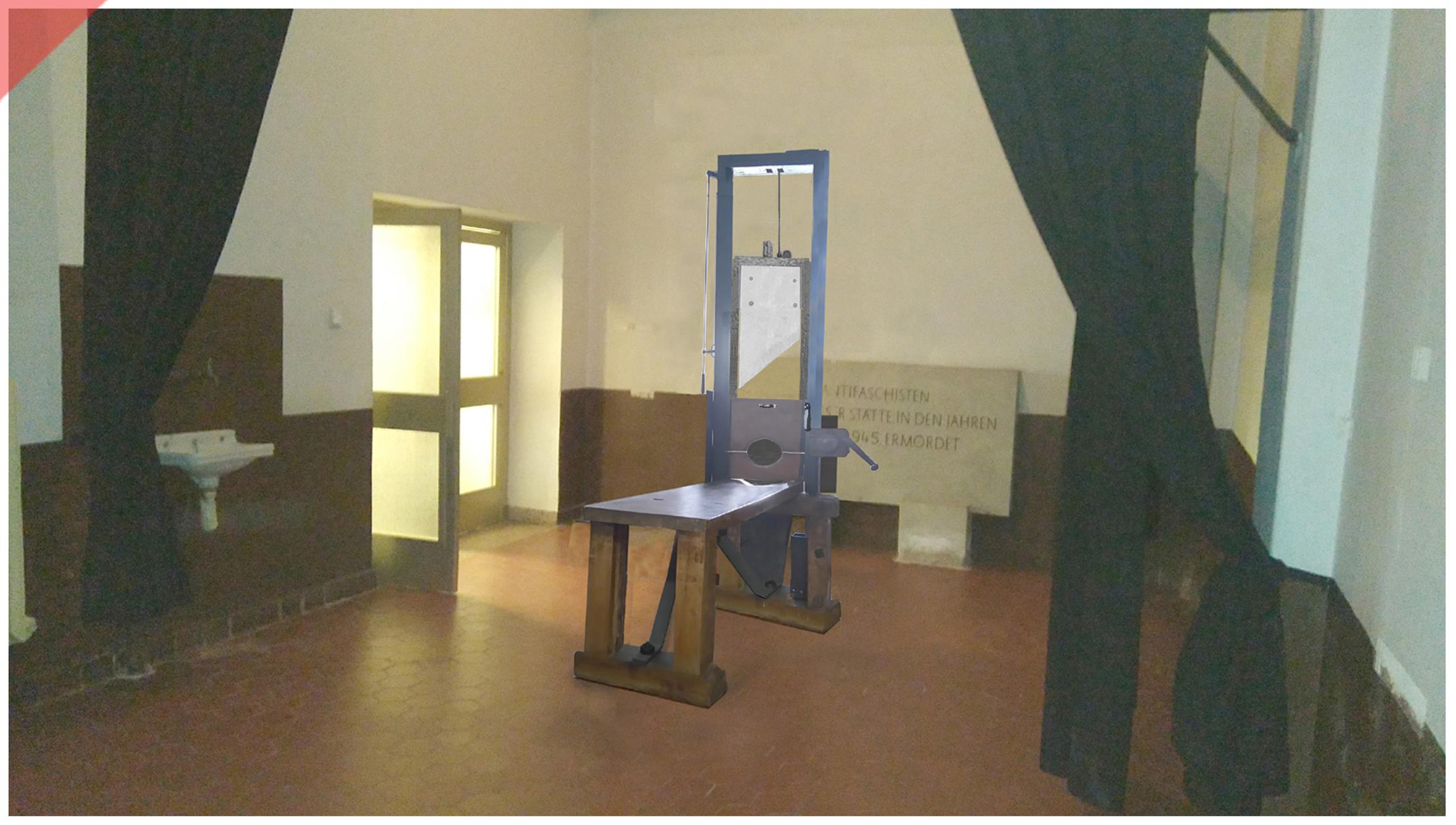 Brandenburg-Görden-Goerden-prison-room-present-German-Fallbeil-Modell-T-Mannhardt-Guillotine-Röttger-Roettger-Garage