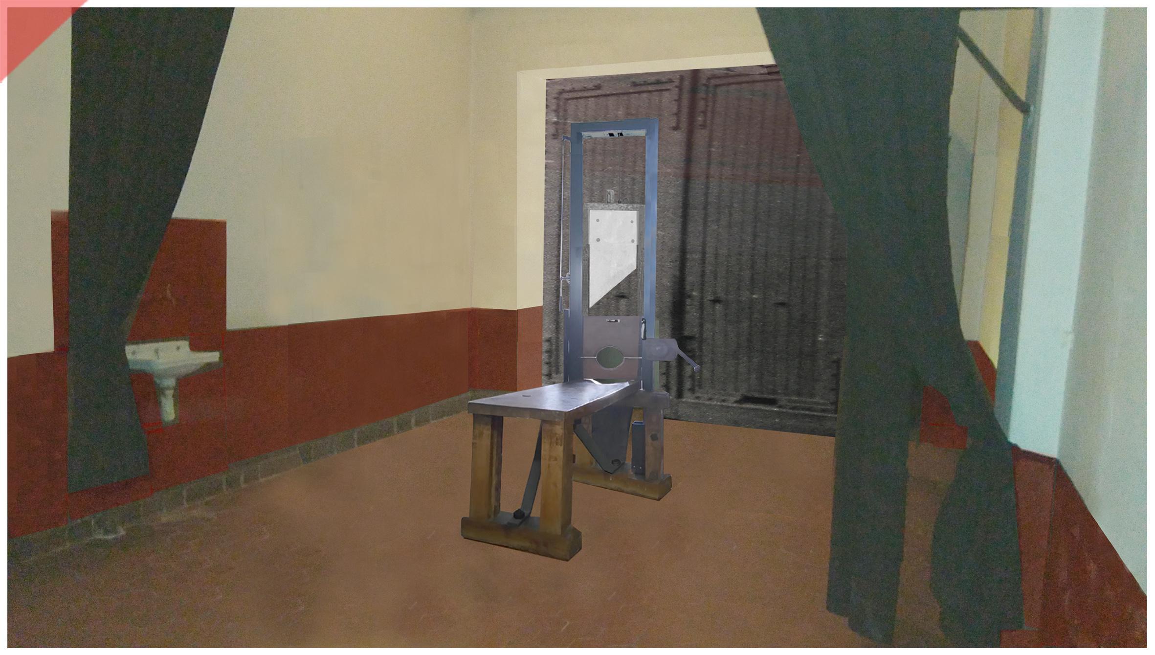 Brandenburg-Görden-Goerden-prison-room-then-1945-original-German-Fallbeil-Modell-T-Mannhardt-Guillotine-Röttger-Roettger-Garage