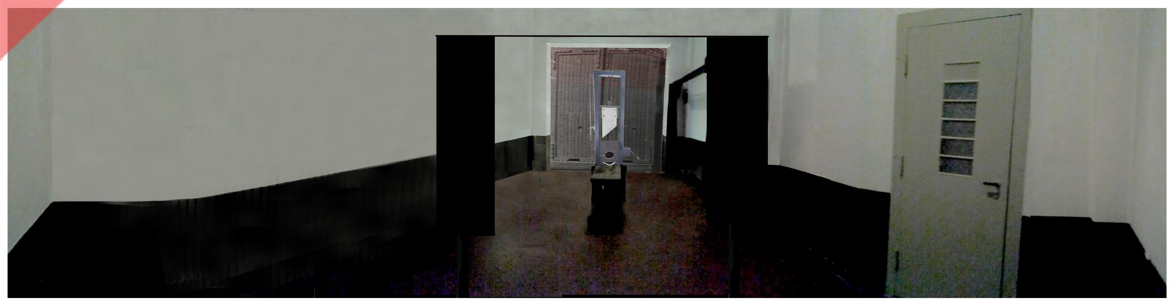 Brandenburg-Görden-Goerden-prison-German-Fallbeil-original-curtain-shorter-open-Modell-T-Mannhardt-Guillotine-Röttger-Roettger-Garage-Garagentor-1945-original