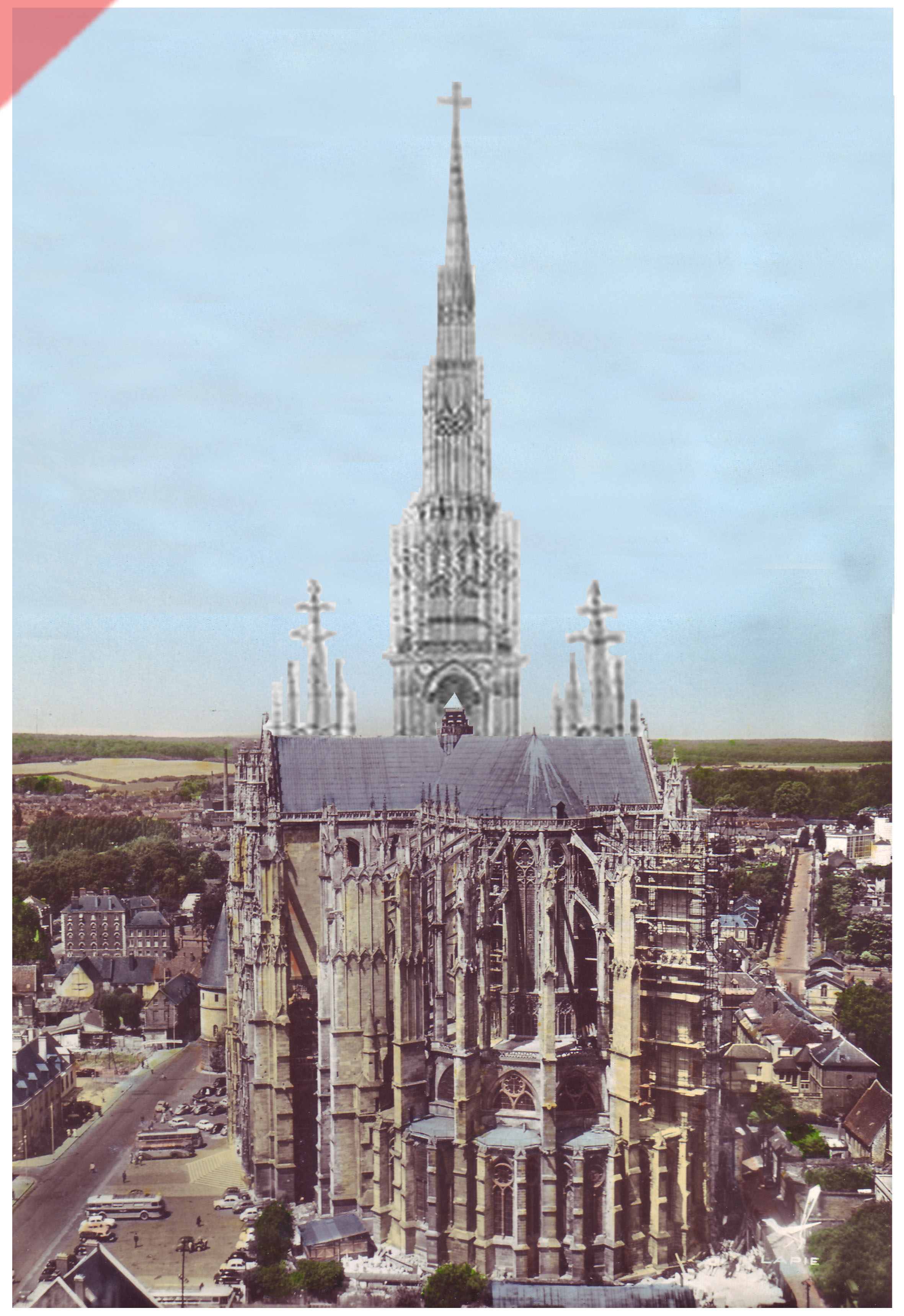 Cathédrale-Beauvais-vue-aerienne-façade-ouest-façade-prévue-tour-1573-église-planifiée-Cathedrale-Beauvais-aerial-view-east-façade-geplante-façade-tower-1573-planned-church-kathedrale