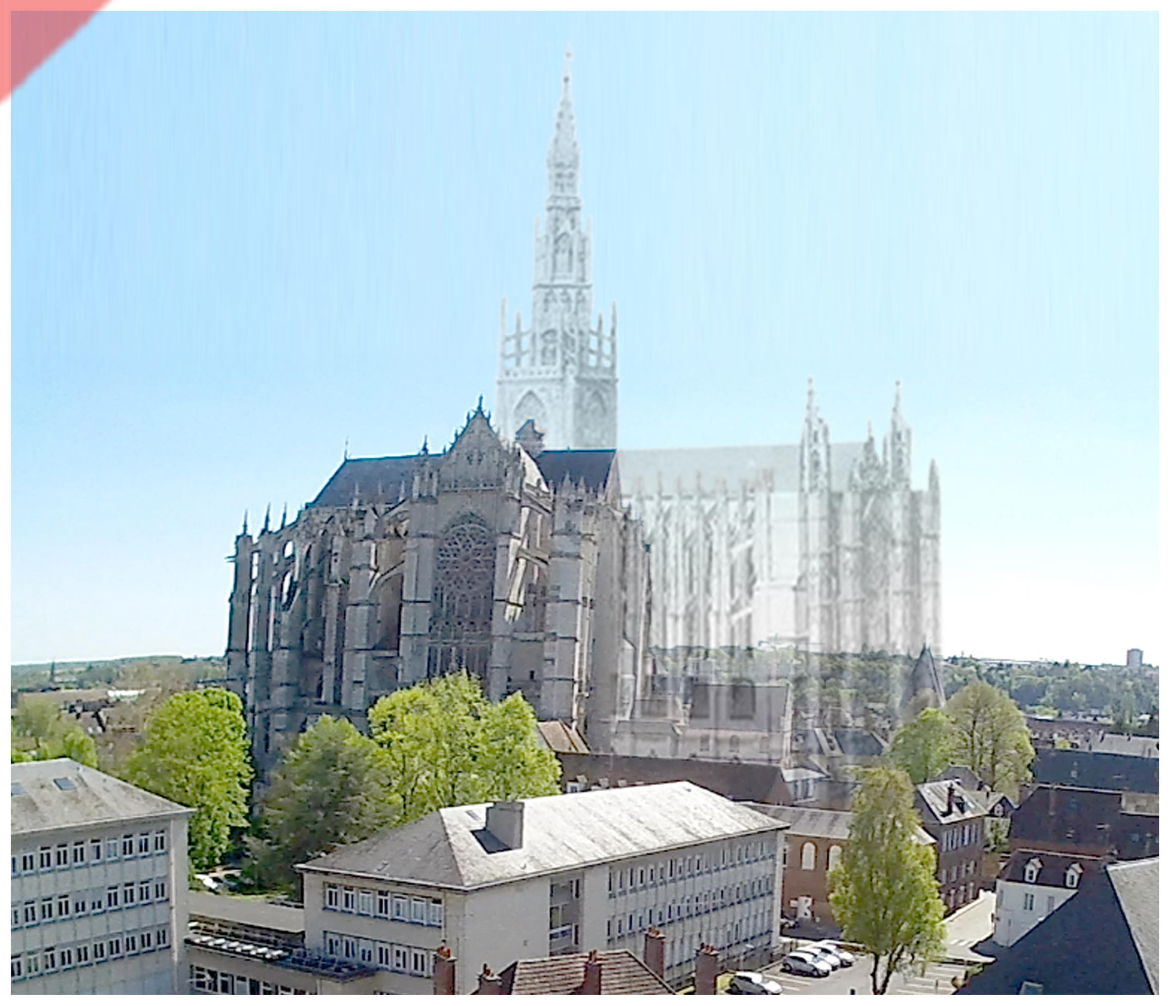Cathédrale-Beauvais-vol-drone-façade-nord-façade-prévue-tour-1573-église-planifiée-Cathedrale-Beauvais-drone-nord-façade-geplante-façade-tower-1573-planned-church-kathedrale