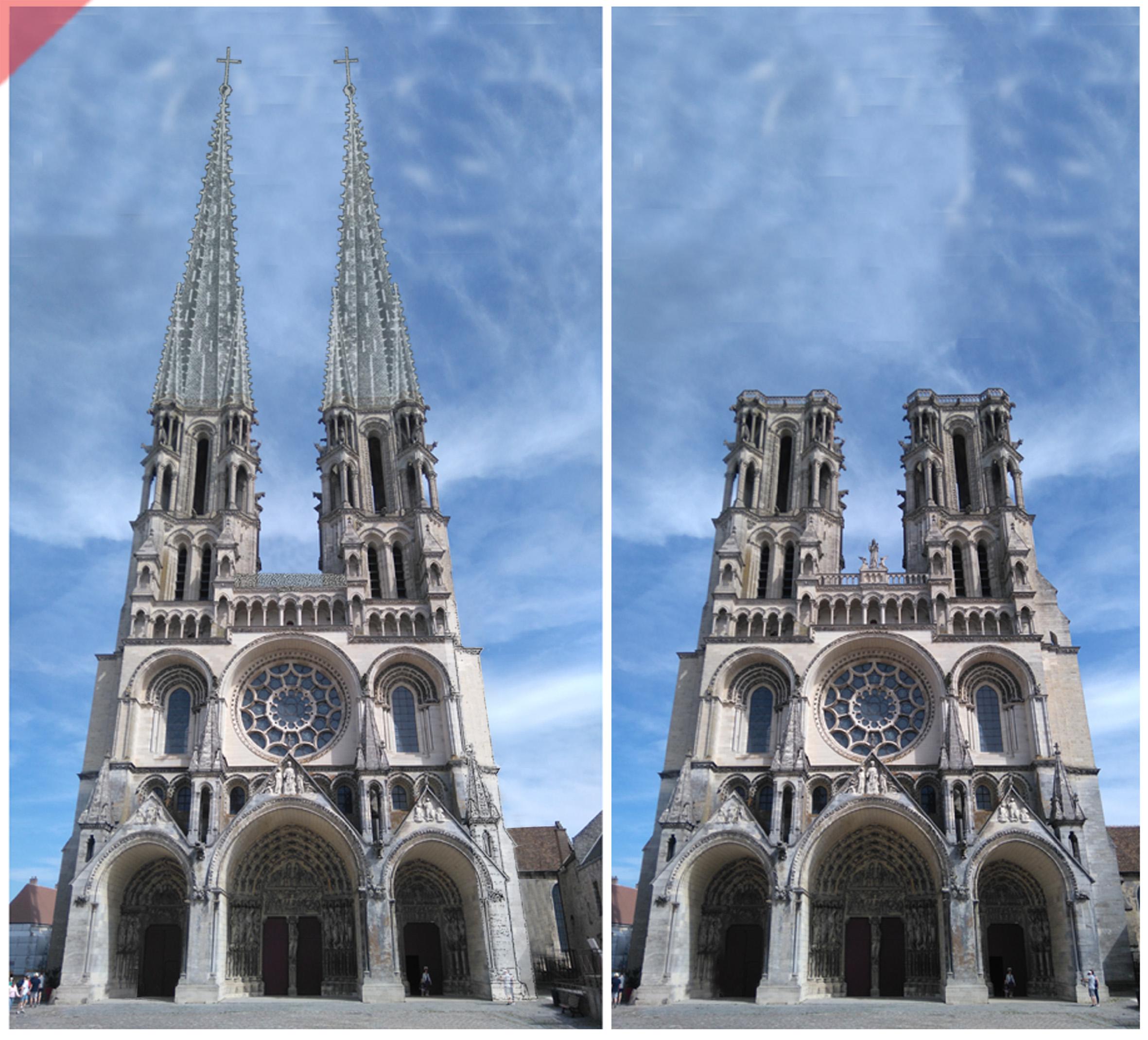 Laon-Cathédrale- plomb-vert-vol-drone-2-deux-tours-façade-aériennes-tours avant-toits-plane-alors-et-maintenant-Laon-cathedral-drone-flight-cathedrale-aerial view-green-2-two-towers-façade-west-pitched roof-then-and-now