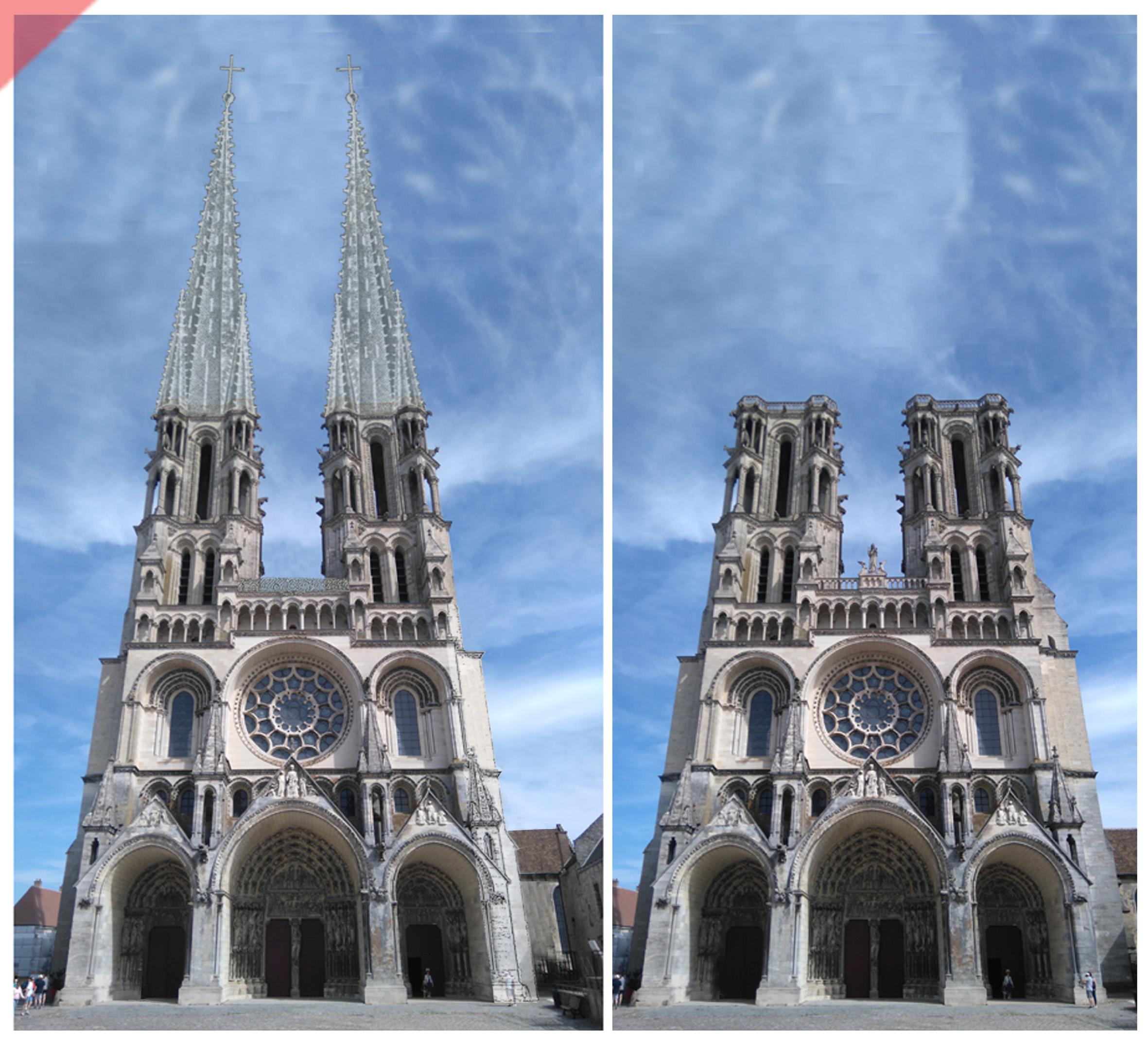 Laon-Cathédrale-2-deux-tours-fenêtre-rose-ouest-tours avant-toits-plane-alors-et- maintenant-Laon-cathedrale-2-two-towers-window-rose-katehdrale-façade-west-pitched-roof-then-and-now