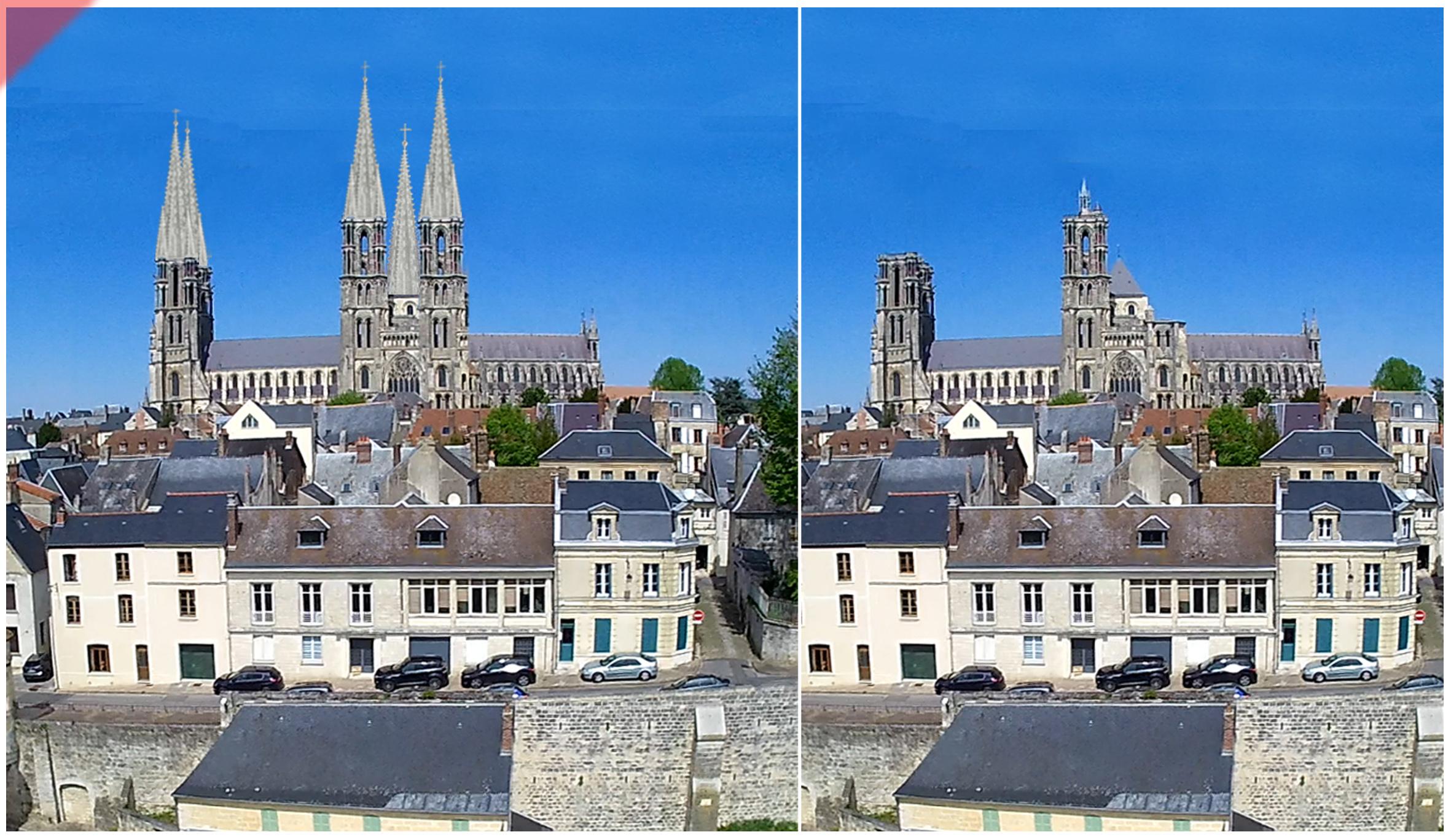 Laon-Cathédrale-vol-drone-2-deux-tours-façade-ouest-tours avant-toits-plane-alors-et-maintenant-Laon-cathedrale-drone-flight-2-two-towers-façade-kathedrale-west-pitched-roof-then-and-now