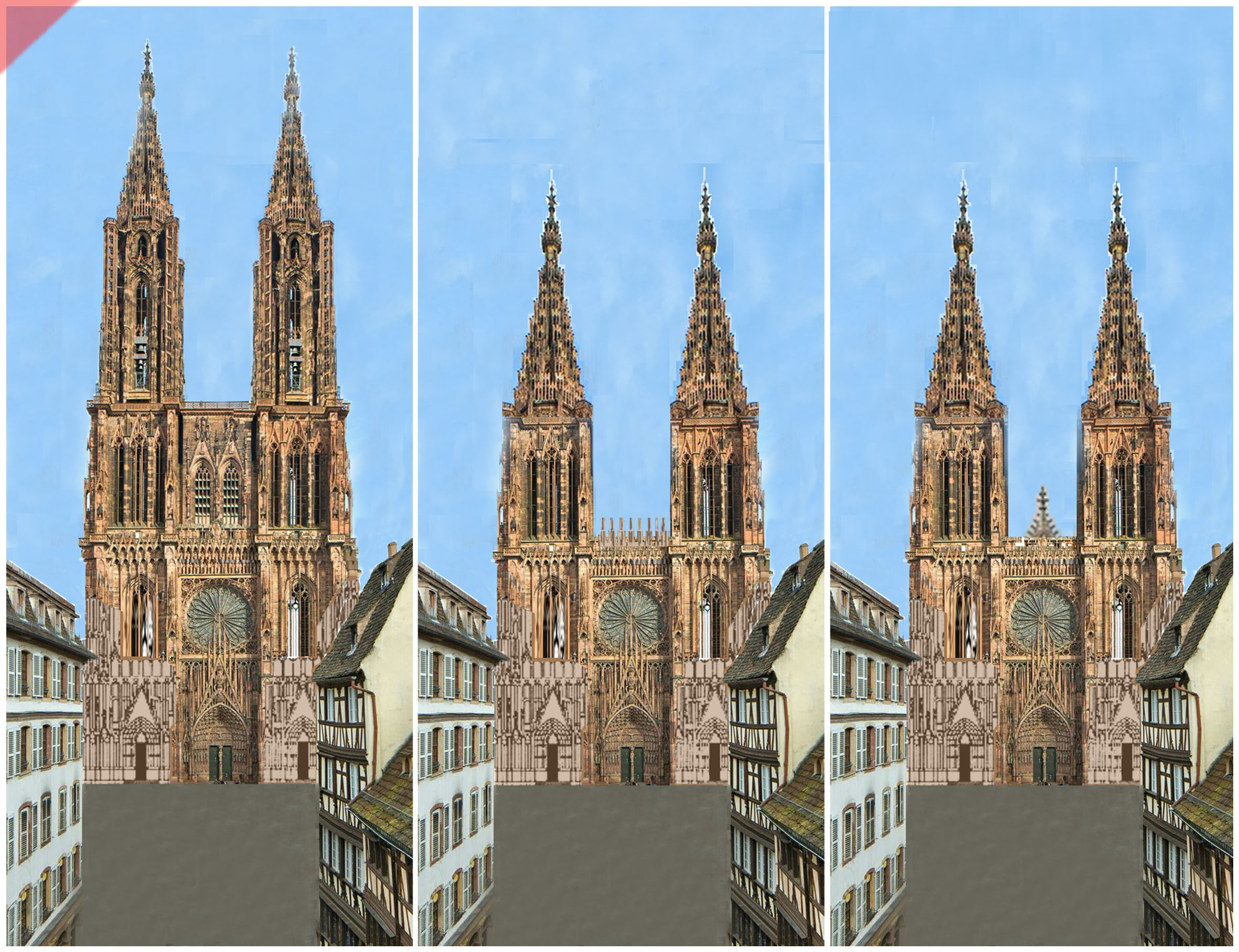 Strassburg-Münster-Cathédrale-tours-2-deux-prévu-toit-de-pierre-façade-ouest-Straßburg-cathedrale-2-two-towers-kathedrale-pitched-roof-stone-then-and-now