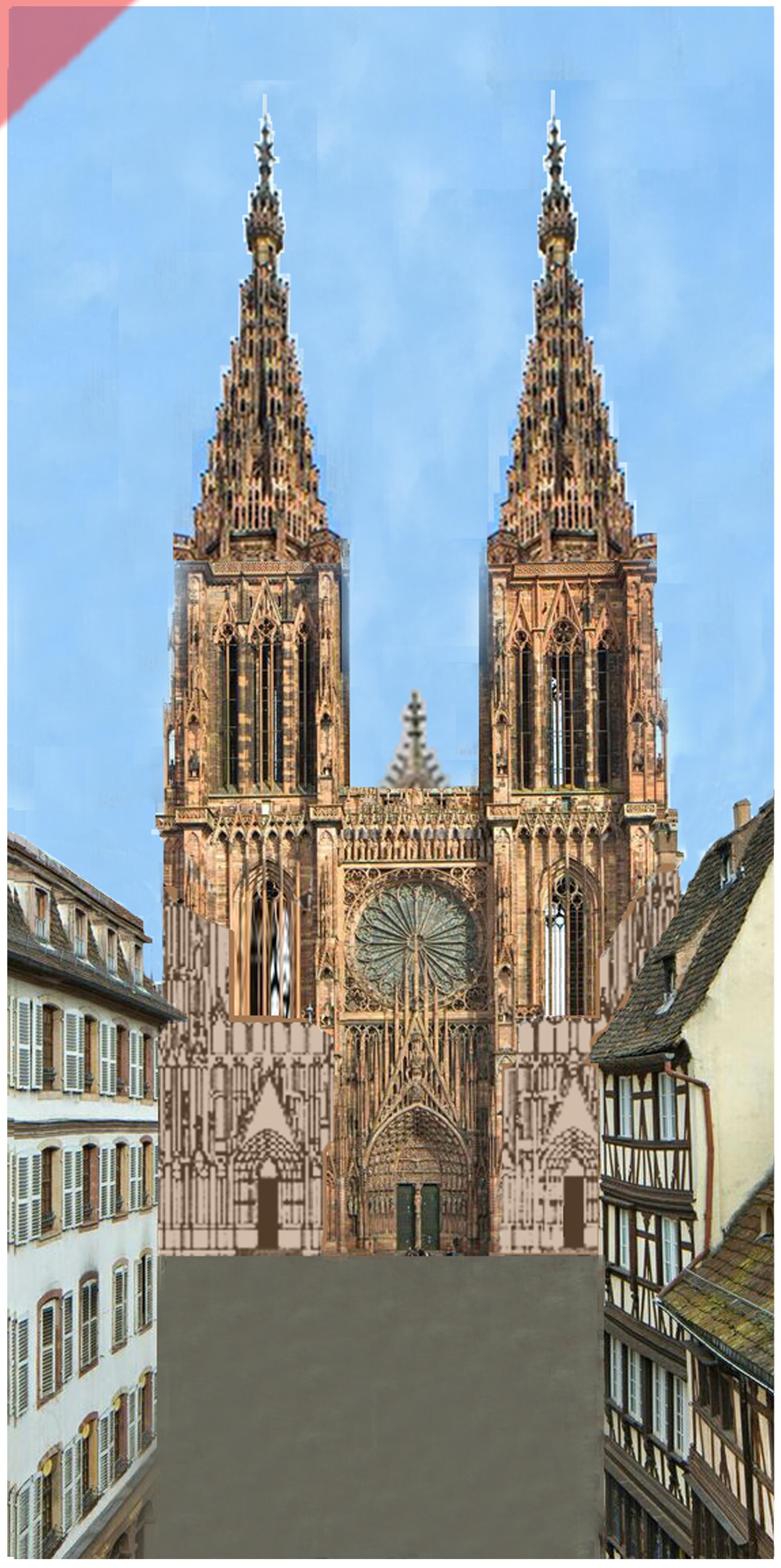 Strassburg-Münster-Cathédrale-tours-2-deux-prévu-toit-de-pierre-façade-ouest-Straßburg-cathedrale-2-two-towers-kathedrale-pitched-roof-stone-then-and-now