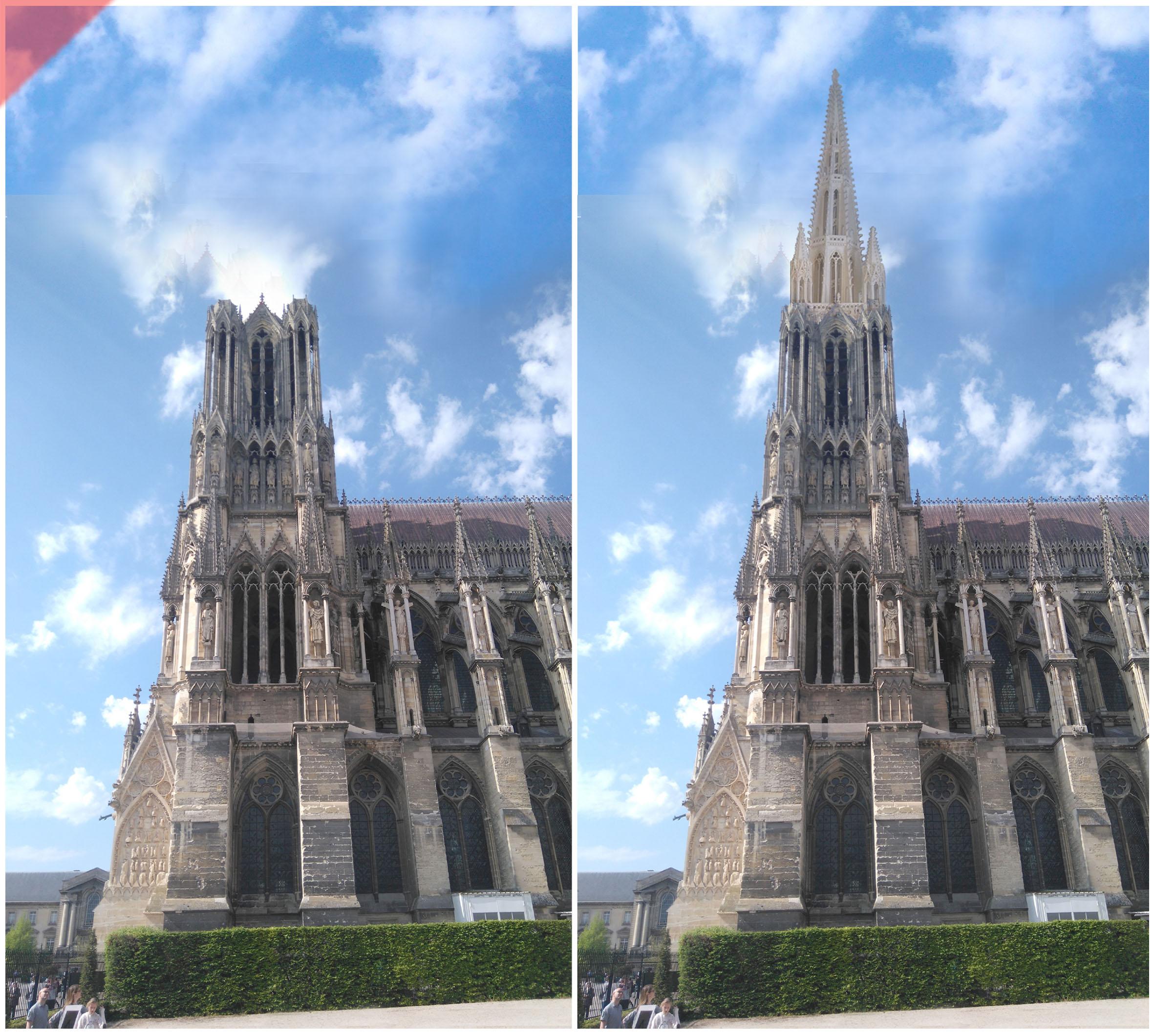 Reims-Cathédrale-Reims-tours-2-deux-prévu-toit-de-pierre-façade-ouest-Reims-cathedrale-2-two-towers-kathedrale-pitched-roof-stone-then-and-now