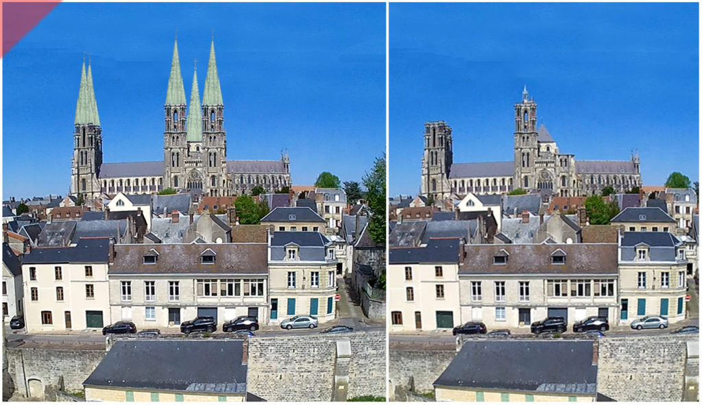 Laon-Cathédrale- plomb-vert-vol-drone-2-deux-aériennes-façade-ouest-tours avant-toits-plane-alors-et-maintenant-Laon-cathedral-drone-flight-cathedrale-aerial view-green-2-two-towers-façade-west-pitched roof-then-and-now