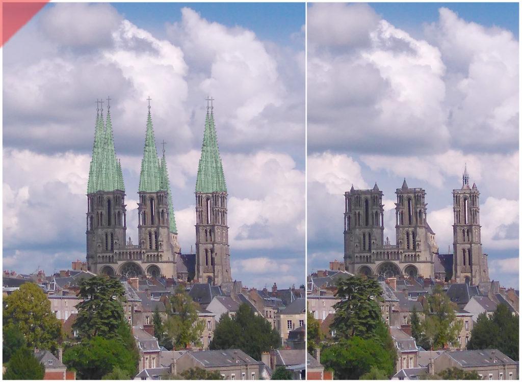 Laon-bleidach-grün-Kathedrale-2-Türme-Tuerme-Spitzdach-flach-Damals-Jetzt-Cathédrale-plomb-vert-vol-drone-2-deux-tours-façade-aériennes-tours avant-toits-plane-alors-et-maintenant-Laon-cathedral-drone-aerial view-kathedrale-lead-green-2-two-towers-façade-west-pitched roof-then-and-now