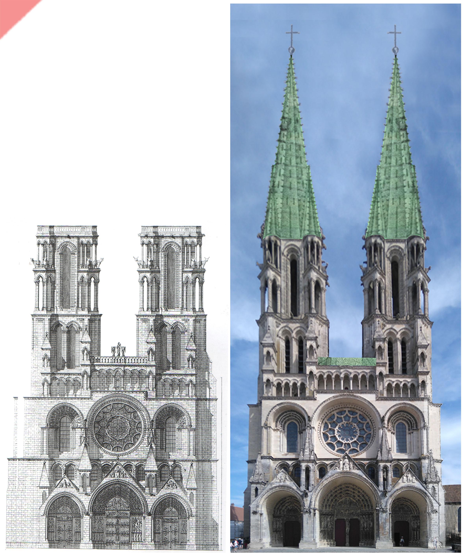 Laon-bleidach-grün-Kathedrale-2-Türme-Tuerme-Spitzdach-flach-Damals-Jetzt-Cathédrale-dehio-plomb-vert-vol-drone-2-deux-tours-façade-aériennes-tours avant-toits-plane-alors-et-maintenant-Laon-cathedral-drone-flight-cathedrale-aerial view-green-2-two-towers-façade-west-pitched roof-then-and-now