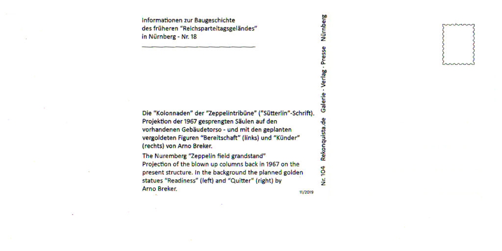 Zeppelintribüne-144-Säulen-Kolonnaden-1967-Sprengung-Sprengen-Damals-Jetzt-Arno-Breker-Künder-Bereitschaft-Skulpturen-Figuren-vergoldet-geplant-Jetzt-Zeppelin-field-grandstand-picture-postcard-144-columns-then-now-Arno-Breker-Quitter-Readiness-sculptures-text-informations