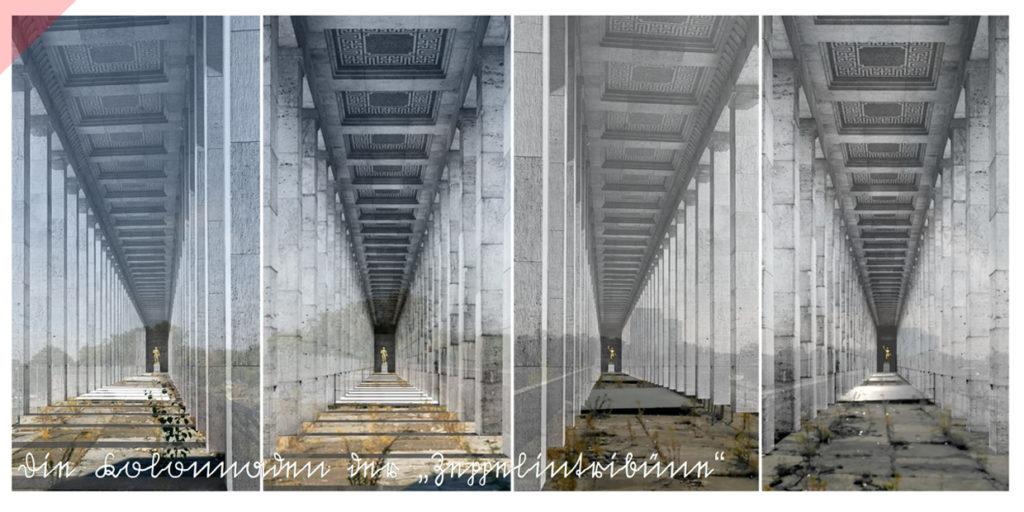 Zeppelintribüne-144-Säulen-Kolonnaden-1967-Sprengung-Sprengen-Damals-Jetzt-Arno-Breker-Künder-Bereitschaft-Skulpturen-Figuren-vergoldet-geplant-Jetzt-Zeppelin-field-grandstand-picture-postcard-144-columns-then-now-Arno-Breker-Quitter-Readiness-sculptures