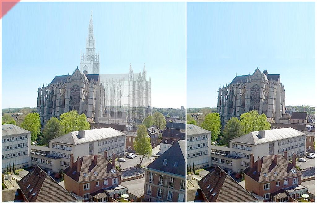 Beauvais-Kathedrale-Westchor-Drohne-Flug-geplant-gebaut-Damals-Jetzt