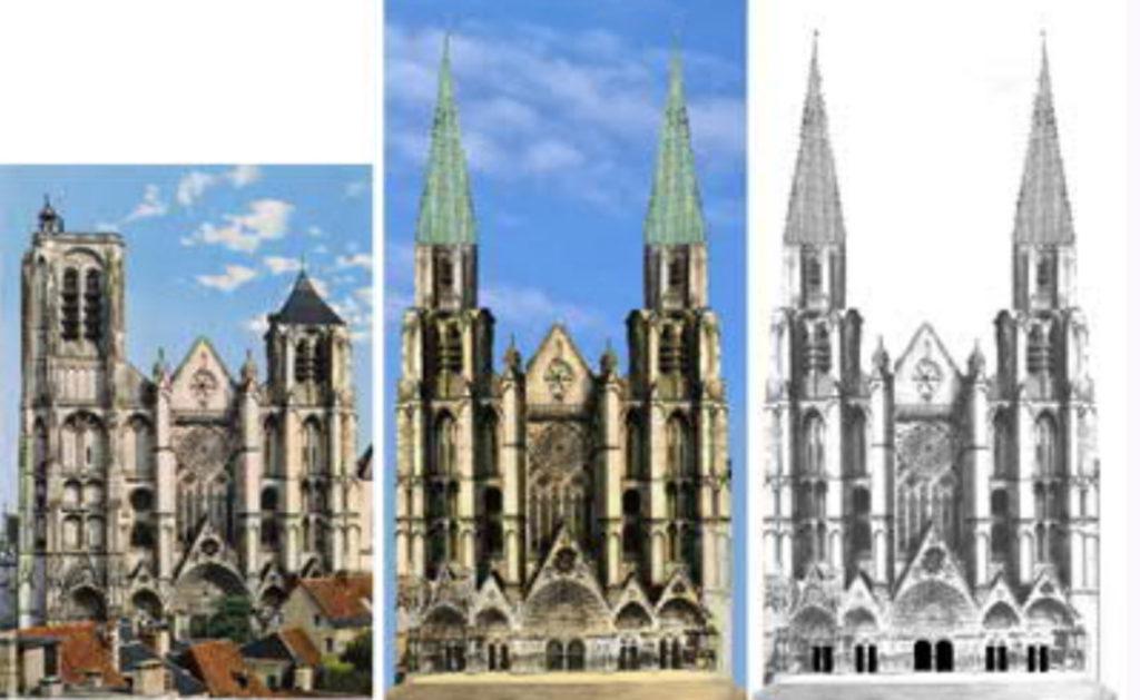 Bourges-Kathedrale-Fassade-geplant-gebaut-Damals-Jetzt