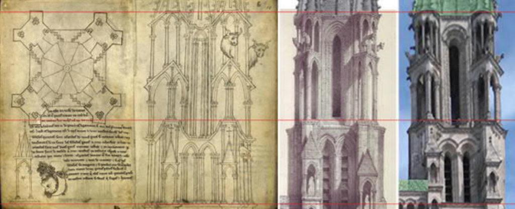 Laon-Kathedrale-Türme-Turm-Turmdach-geplant-gebaut-Damals-Jetzt-Vergleich