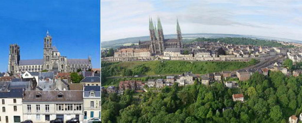 Laon-Kathedrale-Türme-Turm-Turmdach-geplant-gebaut-Damals-Jetzt