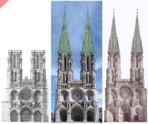 Laon-Hannecourt-Zeichnung-Turm-Ochsen-1230-bleidach-grün-Kathedrale-2-Türme-Tuerme-Spitzdach-flach-Damals-Jetzt-Cathédrale-Hannecourt-gravure-plomb-vert-vol-drone-2-deux-tours-façade-aériennes-tours avant-toits-plane-alors-et-maintenant-Laon-cathedral-drone-flight-cathedrale-aerial view-green-2-two-towers-façade-west-pitched roof-then-and-now