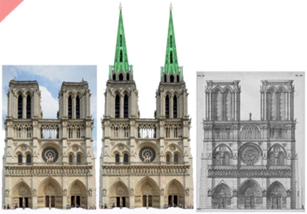 Paris-Kathedrale-Notre-Dame-Fassade-geplant-gebaut-Damals-Jetzt