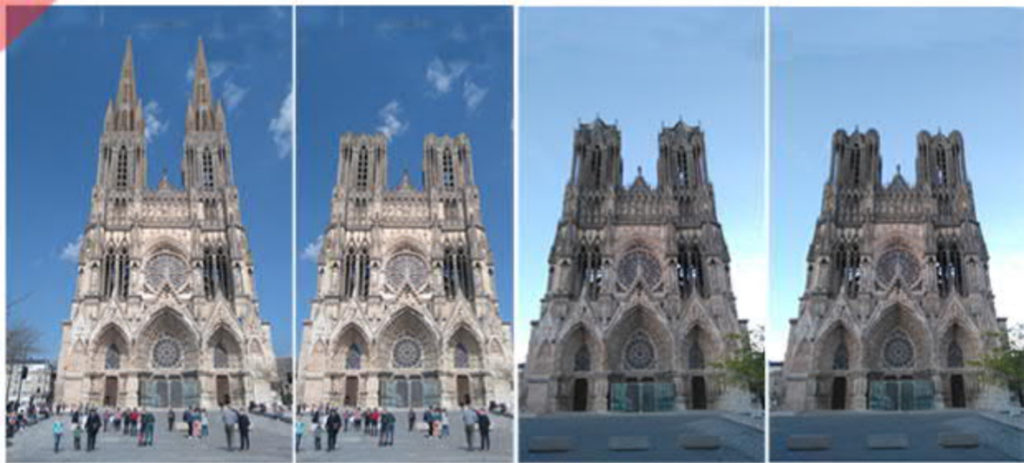 Reims-steindach-Kathedrale-2-Türme-Tuerme-Spitzdach-flach-Damals-Jetzt-Cathédrale-pierre-vert-vol-drone-2-deux-tours-façade-aériennes-tours avant-toits-plane-alors-et-maintenant-Laon-cathedral-drone-flight-cathedrale-aerial view-stone-roof-2-two-towers-façade-west-pitched roof-then-and-now