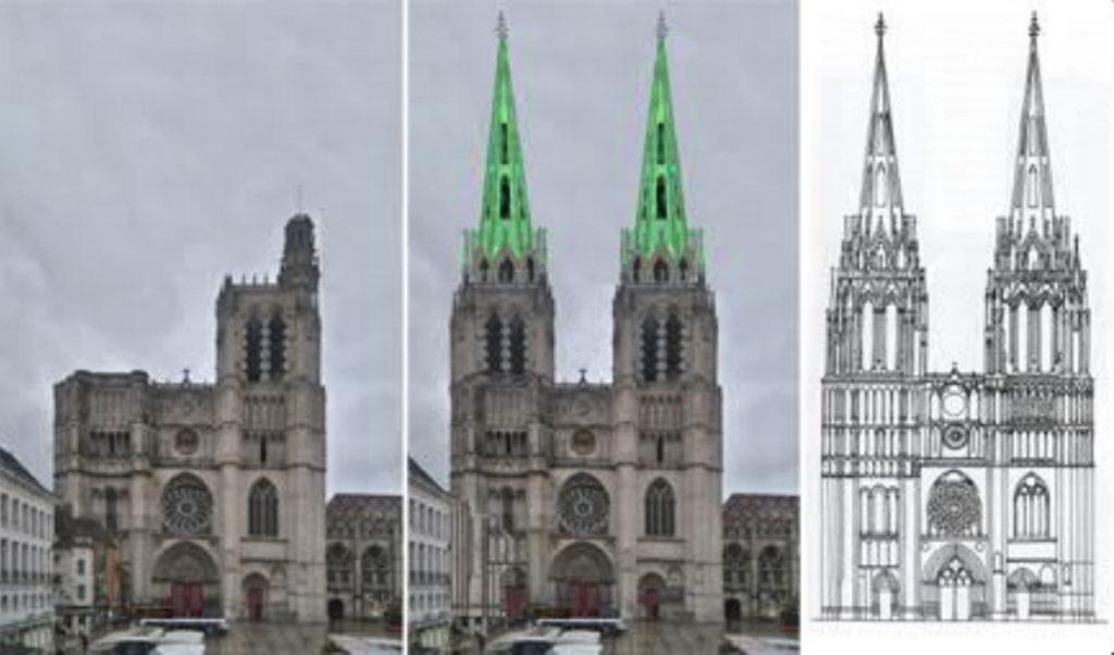 Sens-Kathedrale-Fassade-geplant-gebaut-Damals-Jetzt