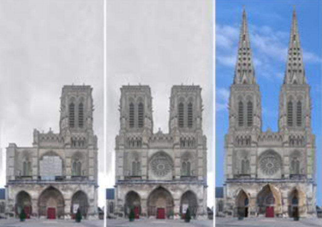 Soissons-Kathedrale-Fassade-geplant-gebaut-Damals-Jetzt