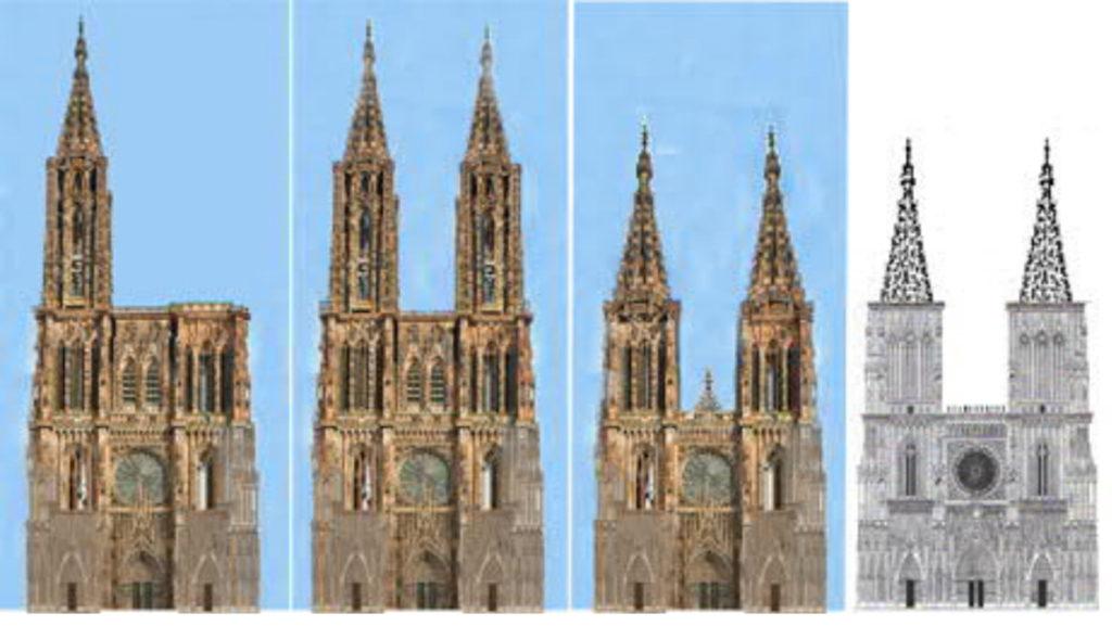 Strassburg-Kathedrale-Münster-Fassade-geplant-gebaut-Damals-Jetzt
