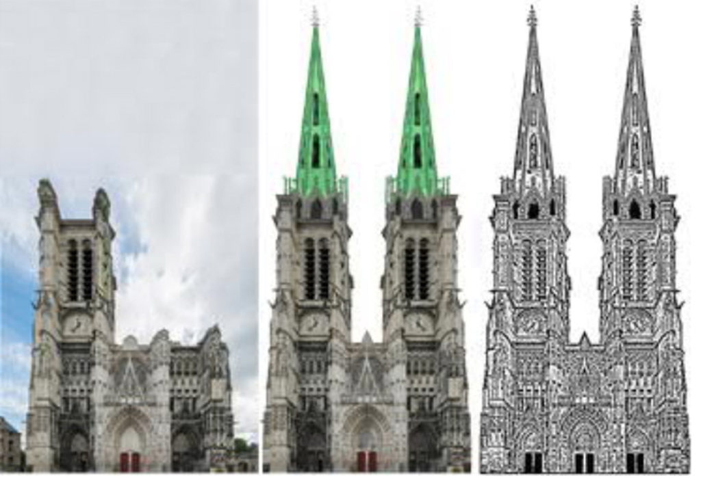 Troyes-Kathedrale-Fassade-geplant-gebaut-Damals-Jetzt