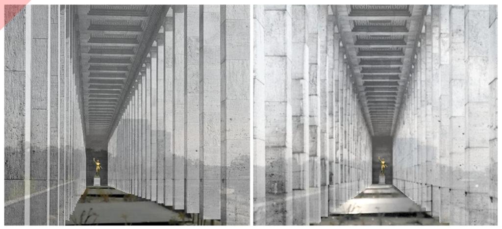 Zeppelintribüne-144-Säulen-Kolonnaden-1967-Sprengung-Sprengen-Damals-Jetzt-Arno-Breker-Künder-Bereitschaft-Skulpturen-Figuren-vergoldet-geplant-Jetzt-Zeppelin-field-grandstand-Nuremberg-Party-Rally-Grounds-144-columns-blown-up-June-1967-panoramic-view-Arno-Breker-golden-statue-Quitter-1939-Then-Now