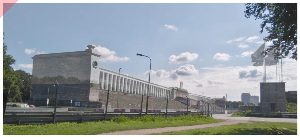 Zeppelintribüne-144-Säulen-Panorama-Kolonnaden-1967-Sprengung-Sprengen-Damals-Jetzt-Arno-Breker-Künder-Bereitschaft-Skulpturen-Figuren-vergoldet-geplant-Jetzt-Zeppelin-field-grandstand-Nuremberg-Party-Rally-Grounds-144-columns-blown-up-June-1967-panoramic-view-backfront-Then-Now