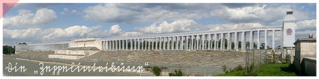 Zeppelintribüne-144-Säulen-Kolonnaden-1967-Sprengung-Sprengen-Damals-Jetzt-Arno-Breker-Künder-Bereitschaft-Skulpturen-Figuren-vergoldet-geplant-Jetzt-Zeppelin-field-grandstand-Nuremberg-Party-Rally-Grounds-144-columns-blown-up-June-1967-panoramic-view-Then-Now