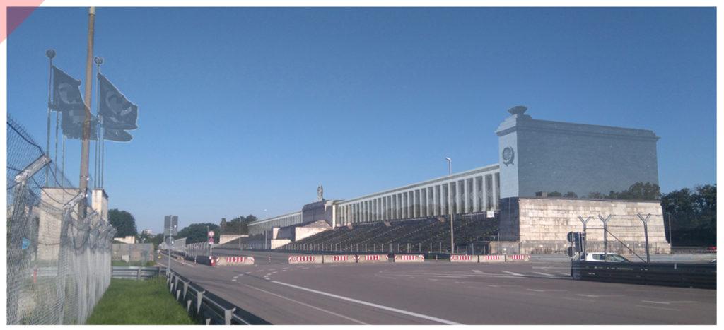 Zeppelintribüne-Panorama-144-Säulen-Kolonnaden-1967-Sprengung-Sprengen-Damals-Jetzt-Arno-Breker-Künder-Bereitschaft-Skulpturen-Figuren-vergoldet-geplant-Jetzt-Zeppelin-field-grandstand-Nuremberg-Party-Rally-Grounds-144-columns-blown-up-June-1967-panoramic-view-Then-Now