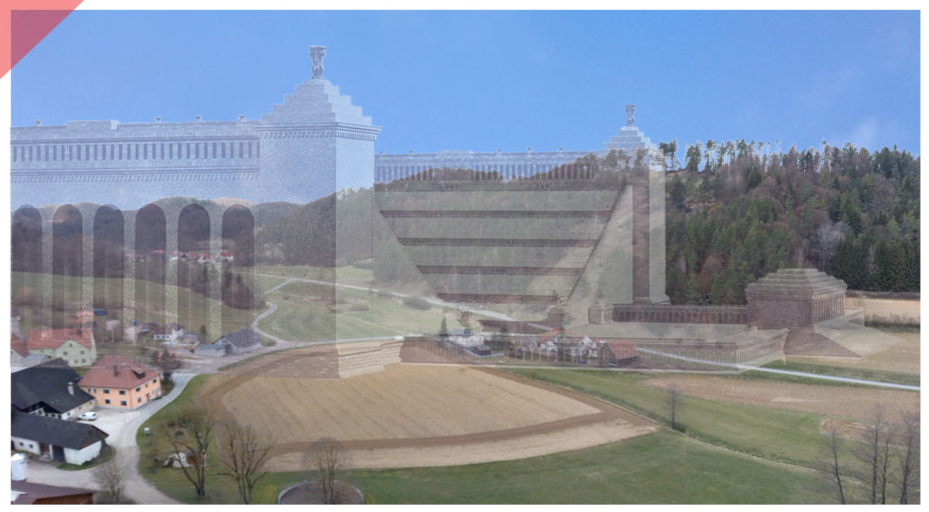 German-stadion-nuremberg-nazi-party-rally-grounds-grandstand-drone-view-model-wood-scale-1-1-Hirschbachtal-phases-of-erection-comparison-panoramic-view-size-angle-Oberklausen-Hersbruck-Then-Now