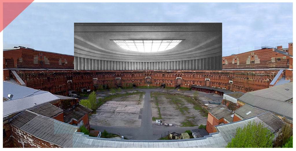 Nuremberg-Party-Rally-Grounds-new-Congress-hall-roof-66-columns-drone-flight-inner-court-Now-Then-panoramic-view