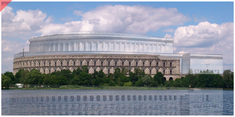 Kongresshalle-Kongressbau-Nürnberg-Reichsparteitage-Dach-Überblenden-Rundung-transparent-innen-Drohne-Luftbild-Party-Rally-Grounds-new-Congress-hall-roof-66-columns-drone-flight-inner-court-Now-Then-panoramic-view