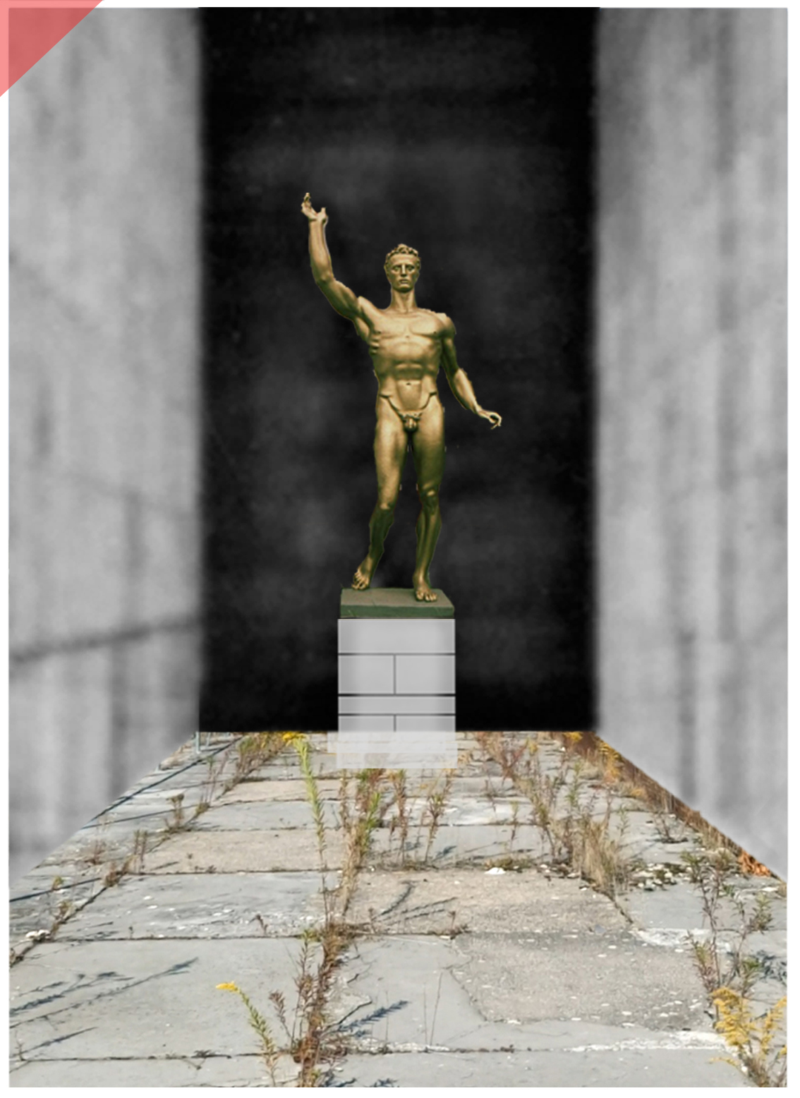 Zeppelin-field-grandstand-Nuremberg-sculptures-planned-golden-figurine-Arno-Breker-1939-Seer-Readieness