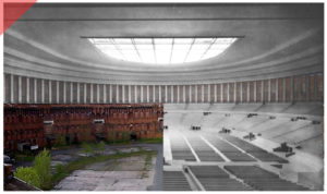 Nuremberg-Party-Rally-Grounds-new-Congress-hall-roof-66-columns-drone-flight-inner-court-Now-Then