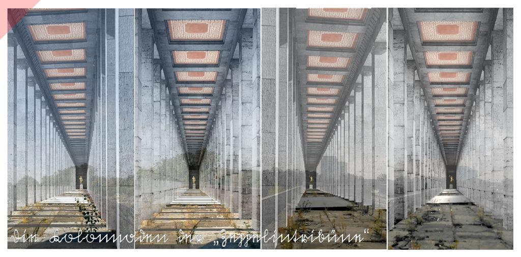 Zeppelintribüne-Zeppelinfeld-rote-Mosaiken-Mosaikdecke-144-Säulen-Kolonnaden-1967-Sprengung-Sprengen-Damals-Jetzt-Arno-Breker-Künder-Bereitschaft-Skulpturen-Figuren-vergoldet-geplant-Jetzt-Zeppelin-field-grandstand-red-mosaics-mosaic-ceiling-picture-postcard-144-columns-then-now-Arno-Breker-Quitter-Readiness-sculptures