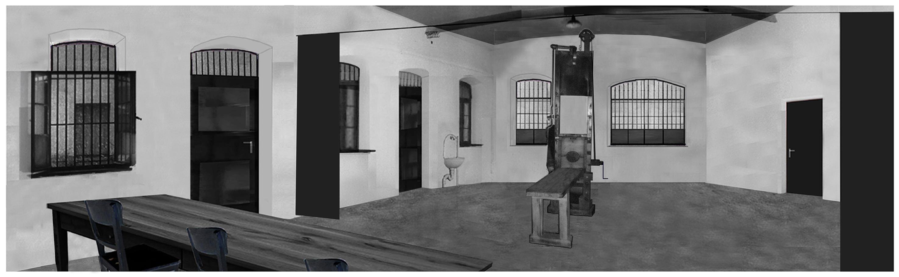 Weiße-Weisse-Rose-Hinrichtungsraum-1943-1958-Fallbeil-Enthauptung-Panorama-Blick-schwarzer-Vorhang-Garage-Weisse-Rose-Probst-Huber-Schmorell-Graf-Stadelheim-München-Muenchen-White-Rose-execution-room-chamber-1943-1958-site-fallbeil-beheadings-room-panoramic-black-curtain-garage-prison-stadelheim-munich
