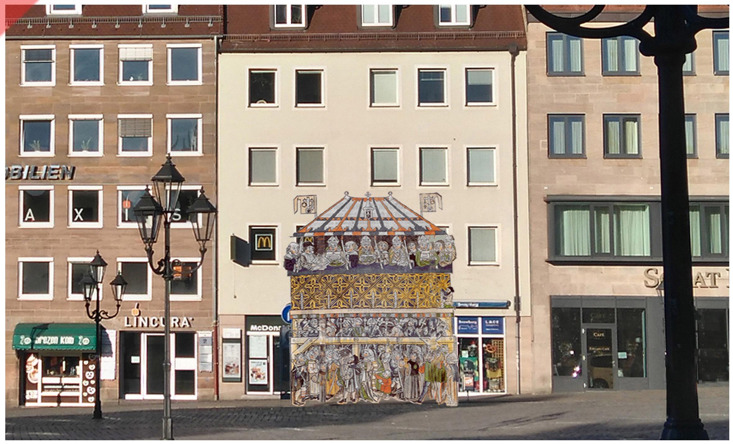 Heiltumsweisung-Nürnberg-Hauptmarkt-15-Schopper-Behaim-1424-1523-Rekonstruktion-Holzschnitt-1487-Gebäude-3-Vergleich