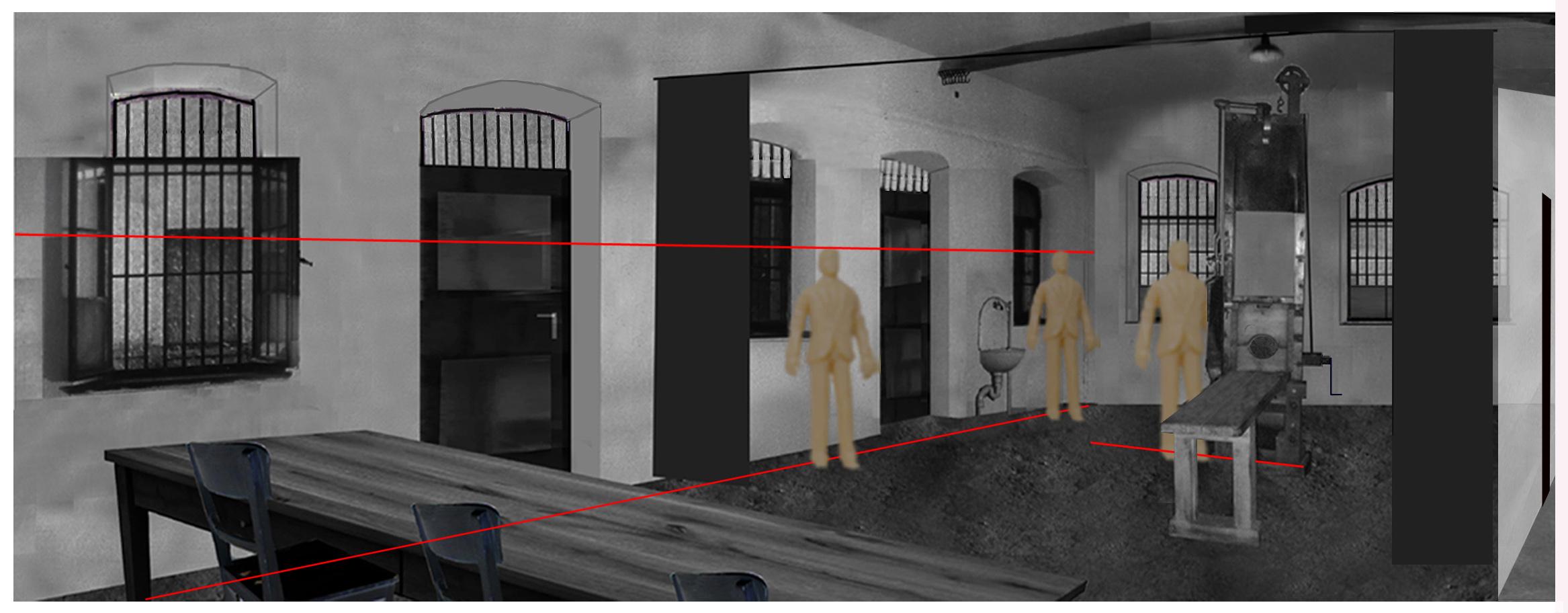 White-Rose-execution-room-site-fallbei-beheadings-room-panoramic-black -curtain-garage-Weisse-Rose-Scholl-Probst-Huber-Schmorell-Graf-Stadelheim-Muenchen-München-Hinrichtungsraum-Fallbeil-1943-1958-Panorama