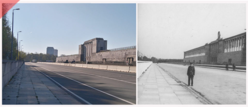 Zeppelintribüne-Besucher-Paar-Säulen-Kolonnaden-Damals-Jetzt