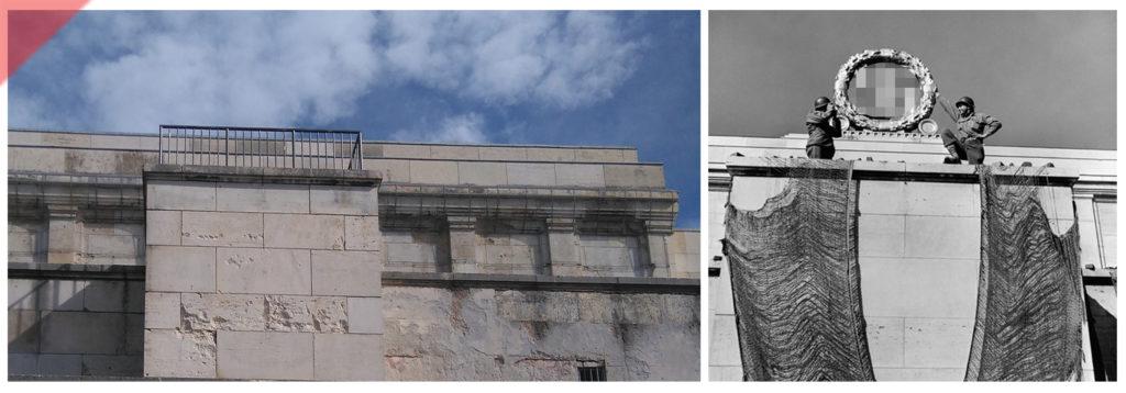 Robert-Capa-April-1945-Nürnberg-Fotos-Zeppelintribüne-Besucher-Paar-Säulen-Kolonnaden-Damals-Jetzt