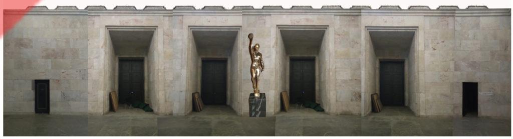 Zeppelintribüne-Goldener-Saal-Joseph-Thorak-Sieg-der-Arbeit-1939-4-Vier-Figuren-Kurt-Schmid-Ehmen-Raumpanorama2a-blau-vergoldete-Figuren-Glaube-Kampf-Ehrung-Opfer-Sieg-zeppelin-field-grandstand-kurt-schmid-ehmen golden-hall-four-figures-golden-believe-fight-honour-victory