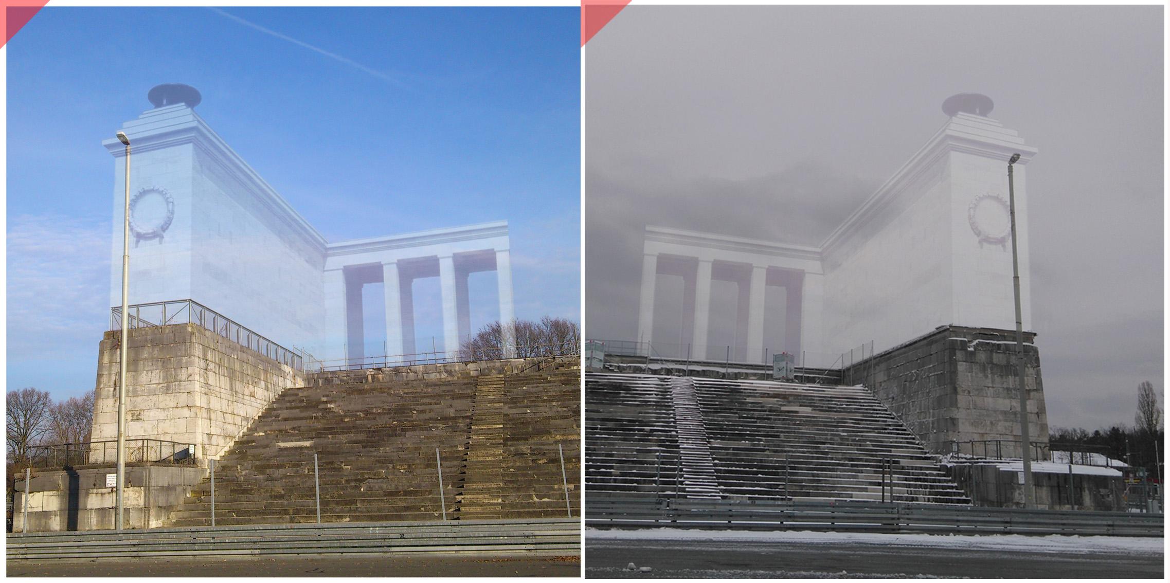Reichsparteitagsgelände-Nürnberg-Zeppelinfeld-Zeppelintribüne-Säulen-Kolonnaden-1967 gesprengt-Eckbauten-Damals-jetzt-Überblenden-Nazi-Party-Rally-Grounds-Zeppelin-field-grandstand-columns-facade-conservation-Then-Now